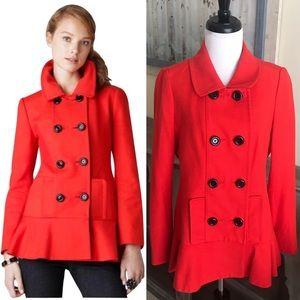 • Kate Spade • Simonne Peplum Pea Coat Poppy Red